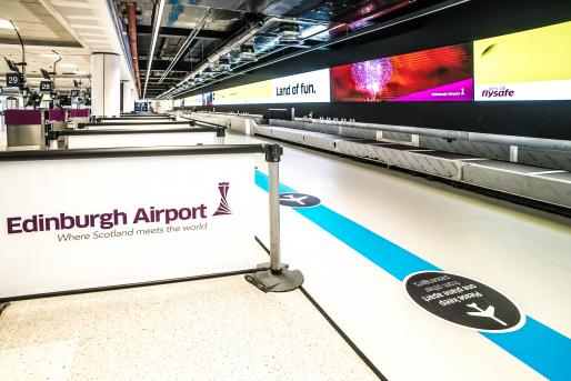 A vast digital canvas at the centre of Edinburgh Airport